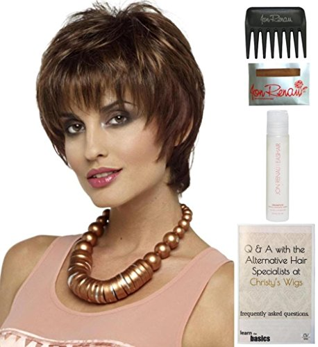 Bundle - 5 items: Elle Wig by Envy, 15 Page Christy's Wigs Q & A Booklet, 2oz Travel Size Wig Shampoo, Wig Cap & Wide Tooth Comb COLOR: Chocolate Caramel