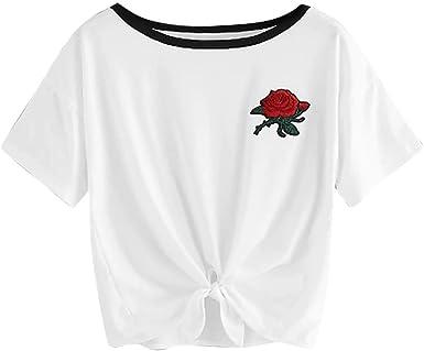 JURTEE Camiseta para Mujer Simple Casual Cuello Redondo Aplique Bordado Rosa Tops Manga Corta Blusa Calle Párrafo Corto Camisa: Amazon.es: Ropa y accesorios