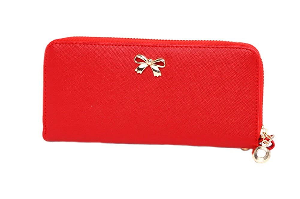 Catkit Women Lady Fashion Clutch Leather Long Wallet Bows Card Case Cash Holder Purse Handbag Bag