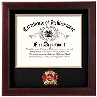 product image for flag connections US Firefighter Certificate of Achievement Picture Frame with Medallion - 8 x 10 Inch Opening