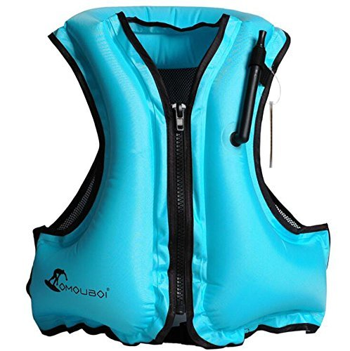 Kingswell Kids Inflatable Life Jacket Teens Swim Vest For Youth Weight Over 80-220lbs Portable Snorkel Vest Buoyancy Safety Aid Vest For Snorkeling, Diving, Swimming-Blue ()