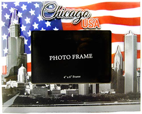 Chicago 4x6 Picture Frame of The City of Chicago in a Beautiful USA Patriotic Design ()