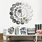 Tools & Hardware : Highpot 31 Pcs Round Mirror Wall Sticker Acrylic Surface Decal Home Room DIY Art Decor (Silver)