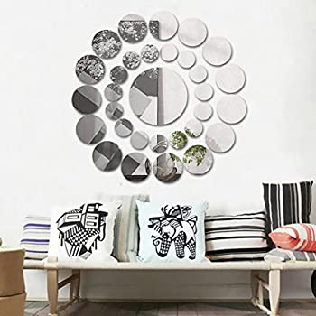 Amazoncom DIY Mirror Wall Sticker OMGAI Removable Round Acrylic - Wall decals mirror
