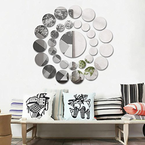 Highpot 31 Pcs Round Mirror Wall Sticker Acrylic Surface Decal Home Room DIY Art Decor (Silver)