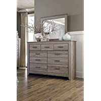 Zerlien Casual Wood Warm Gray Color Dresser And Mirror