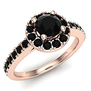 1.00 ct tw Black Round Diamond Cathedral Style Halo Engagement Ring 14K Rose Gold (Ring Size 8)