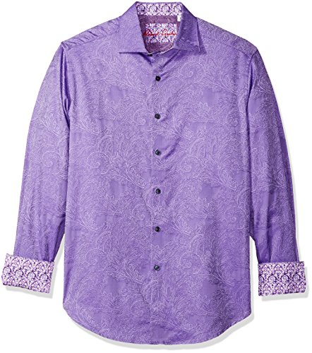 Robert Graham Men's Rosendale Long Sleeve Classic FIT Shirt, Violet, 3XLARGE