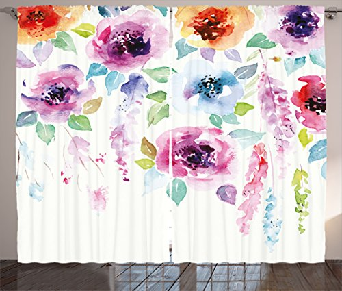 Ambesonne Abstract Curtains, Modern Design Watercolor Decor with Floral Leaves Seemed Ombre Details Art Print, Living Room Bedroom Window Drapes 2 Panel Set, 108W X 84L inches, Multicolor ()