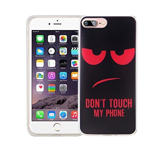 König-Shop Handy Hülle für Apple iPhone 7 Plus Cover Case Schutz Tasche Motiv Slim Silikon Bumper Schale Etuis Rahmen TPU Motiv Dont touch my Phone Rot