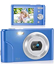 $48 » Digital Camera, Lecran FHD 1080P 36.0 Mega Pixels Vlogging Camera with 16X Digital Zoom, LCD Screen, Compact Portable Mini Cameras for Students, Teens, Kids (Blue)