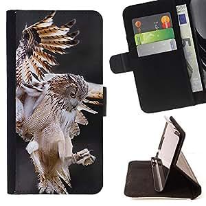 BullDog Case - FOR/Samsung Galaxy S5 V SM-G900 / - / owl hunt flight predator nature animal /- Monedero de cuero de la PU Llevar cubierta de la caja con el ID Credit Card Slots Flip funda de cuer