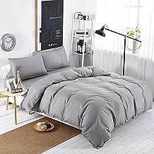 MIFE TEXTILE 100-Percent Microfiber Bedding Sets, Pure Color Duvet Cover Set, 4PCS (Queen, Grey)