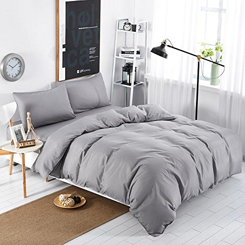 MIFE TEXTILE 4-Piece Grey Duvet Cover Set, Microfiber Solid Color Bedding, Grey Bedding Queen Size