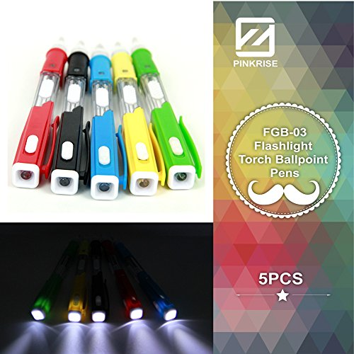 Comix Flashlight Torch Ballpoint Pens ,Double Funtion Pen in Dark,set of 5 Pcs (style 01(Set of 5 Pcs))