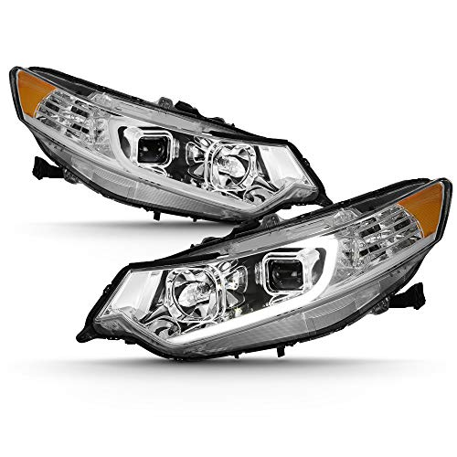 ACANII - For [HID Type] 2009-2014 Acura TSX LED DRL Tube Projector Headlights Headlamps Chrome Housing Left+Right