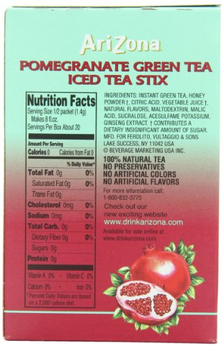 AriZona Pomegranate Green Tea Iced Tea Stix Sugar Free, Low Calorie Single Serving Drink Powder Packets, Just Add Water for a Deliciously Refreshing Iced Tea Beverage, 10 Count per box, Pack of 6 5 HAVE TEA WILL TRAVEL: Everything you love about AriZona Iced Tea now in convenient Stix you can take to go! AriZona Iced Tea Stix fit easily in your bag, purse or pocket. Add water for delicious pomegranate Green Tea in an instant, any time, anywhere. DRINK SUGAR FREE: AriZona Iced Tea Stix are sugar free and sweetened with Splenda, for a big taste that's light on calories. Just tip a single-serving packet into a 16 or 20 ounce bottle of crystal clear water, screw the cap back on, shake well and enjoy! TRY EVERY FLAVOR: Start with our Green Tea--then branch out! Get fruity with Pomegranate, Peach, and Lemon Tea. Tart it up with some Lemonade, or go half on an Arnold Palmer. Get amped with an Energy Shot, or take your drink to go with Iced Tea Stix