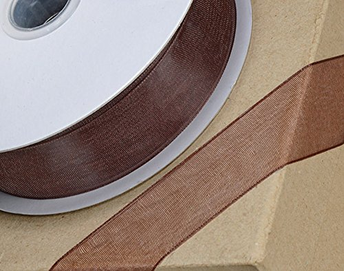 10mm Chocolate Brown Woven Edge Organza Ribbon for Crafts - 25m (Mm Edge 10 Woven)
