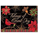 "African American Expressions - Tidings of Great Joy/ Cardinal & Poinsettia Boxed Christmas Cards (15 cards, 5"" x 7"") C-926"