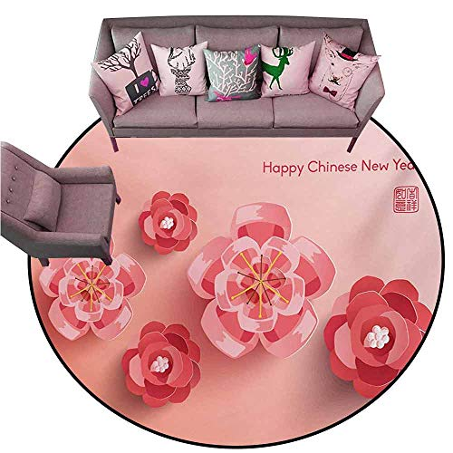 Baby Crawling Area Mats Chinese New Year,Blossoming Ornamental Flowers in Pinkish Colors Zodiac Theme,Coral and Dark Coral Diameter 60