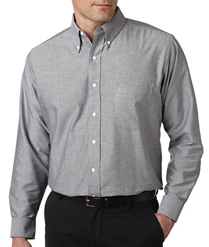 UltraClub® Men's Classic Wrinkle-Free Long-Sleeve Oxford - Charcoal (60/40) - M
