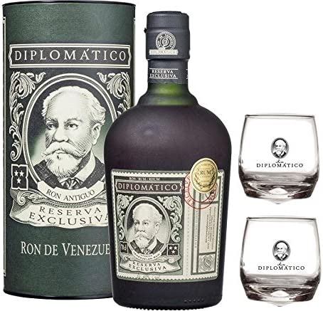 RON RESERVA EXCLUSIVA 70 CL EN ASTUCCIO 2 BASCULANTI DIPLOMATIC GLASS