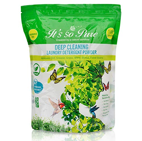 It's So Pure All Natural Detergent Powder - Deep Cleaning Laundry Powder - Removes Dirt, Grease, Grass, Wine, Blood and Food Stains - Fragrance Free Washing Powder Made for Sensitive Skin (100 Loads)