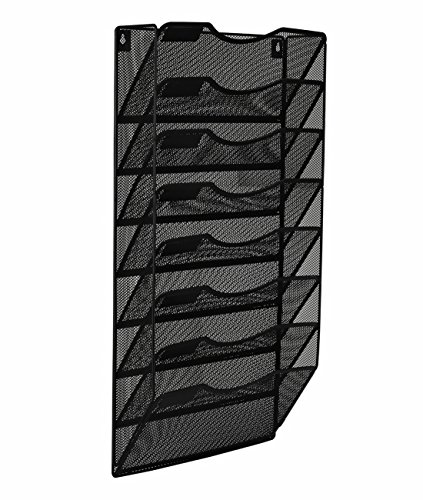 EasyPAG 8 Pocket Metal Wall File Holder Organizer Hanging Magazine Rack,Black (Easy Folder)