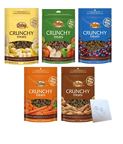 Nutro All Natural Crunchy Training Treats For Dogs 5 Flavor Variety Bundle: (1) Peanut Butter, (1) Banana, (1) Carrot, (1) Mixed Berries, (1) Apple, 10 Oz. Ea. (5 Bags Total)