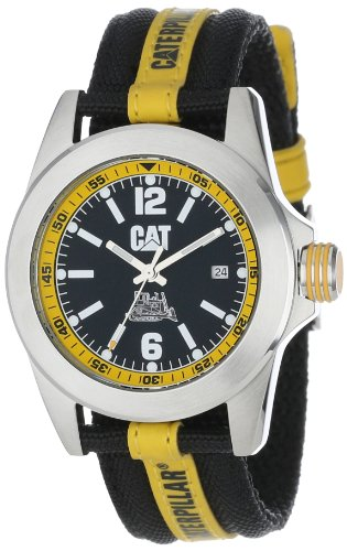 CAT Men's YA14163134 Big Twist Black Analog Dial with a Black and Yellow Nylon Strap (Dial Black Nylon Strap Watch)