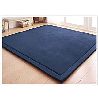 "Loartee Nursery Rug Coral Velvet Crawling Rugs Mat Area Rugs Play Crawling Mat for Baby Toddler Children Play Mat Yoga Mat Exercise Pads Carpet(6'8""x 6'8"", Dark Blue)"