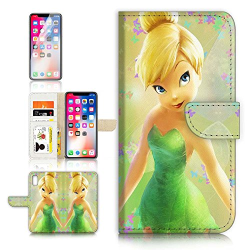 ( For iPhone X ) Flip Case Wallet Cover with Screen Protector - US B30023 - TinkerBell Fairy B30023