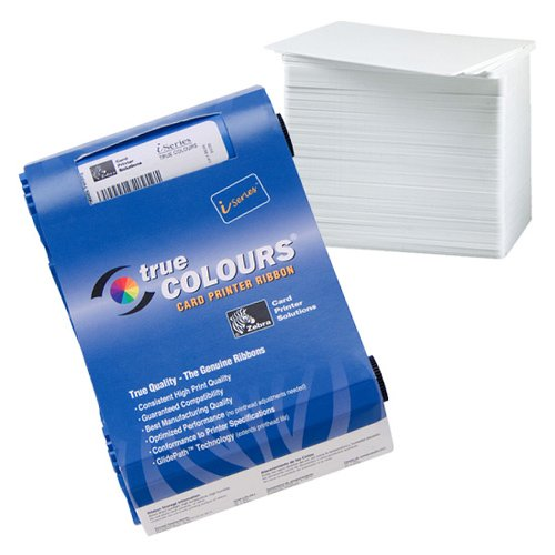 Zebra 800017-240 YMCKO Color Ribbon Bundle with 500 CR80.30 mil blank White PVC - Printer Color P100i Card