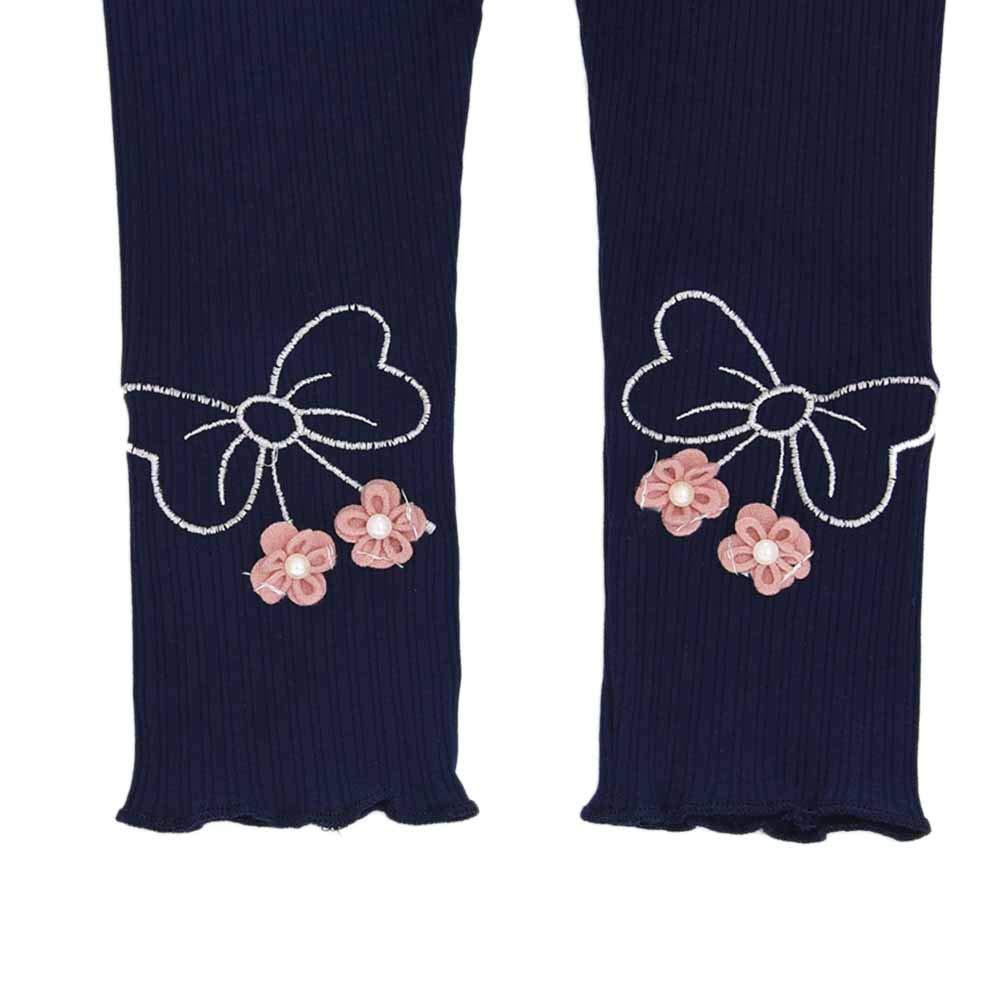 Kids Girls Flower Applique Cotton Knit Stretchy Tights Leggings Pants