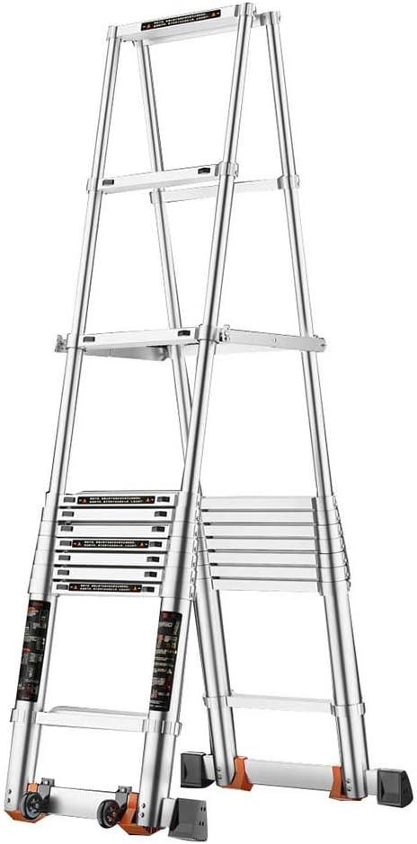 PENGFEI Escalera Telescópica Interior Portátil Escalera De Espiga Antideslizante, Aleación De Aluminio, 7/9/11-step (Tamaño : 3.1M): Amazon.es: Hogar