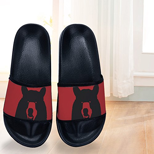 Slippers for Womens Black Drying Quick Slip Non Slippers Black Bear Red 0ASfR