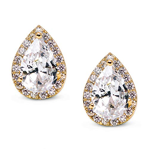 (SWEETV Teardrop Bridal Earrings for Wedding, Prom - Elegant Cubic Zirconia Stud Earrings for women, brides, bridesmaids,Gold )