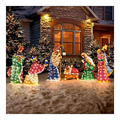 Outdoor Lighted Nativity Scene Holy Family Set in US - 9