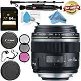 Canon EF-S 60mm f/2.8 Macro USM Lens 0284B002 + 52mm 3 Piece Filter Kit + 64GB SDXC Card + Lens Pen Cleaner + Fibercloth + Lens Capkeeper + Deluxe 70 Monopod + Deluxe Cleaning Kit Bundle