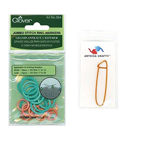 Clover Needlecraft Jumbo Stitch Ring Markers 20/Pkg Bundle with 1 Artsiga Crafts Stitch Holder 354 - Jumbo Ring Markers