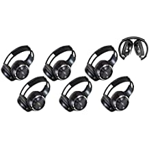 """6 Pack of Two Channel Folding Adjustable Universal Rear Entertainment System Infrared Headphones 6 Additional 48"""" 3.5mm Auxiliary Cords Wireless IR DVD Player Head Phones Car TV Video Audio Listening"""