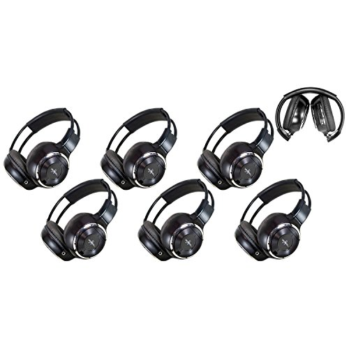 6 Pack of Two Channel Folding Adjustable Universal Rear Entertainment System Infrared Headphones 6 Additional 48
