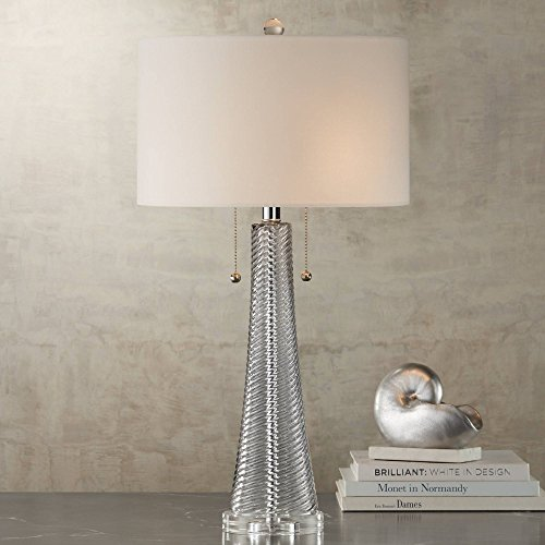 Miriam Modern Table Lamp Gray Swirl Fluted Glass White Drum Shade for Living Room Family Bedroom Bedside Nightstand - Possini Euro Design