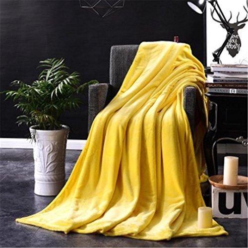 Super Soft Warm Solid Warm Micro Plush Fleece Blanket Throw Rug Sofa Bedding Solid Blanket by Elaco (5070cm, Yellow)
