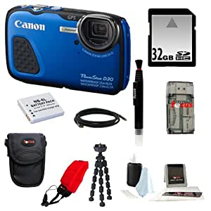 Canon PowerShot D30 Waterproof Digital Camera (Blue) + 32GB SD HC Memory Card + Accessory Kit
