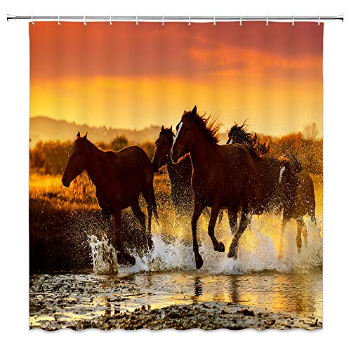 - Brown Horse Shower Curtain A Group of Horses Running in River Fantasy Sunset Scenery Decor Fabric Bathroom Curtains,Waterproof Polyester with Hooks 70x70 Inch