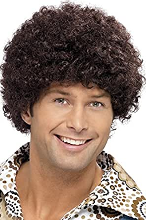 Smiffy's Men's 70's Short Brown Afro, One size,  Disco Dude Wig, 5020570420157