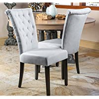 Modern Linen Tufted Parsons Style Dining Chairs | Wood (Set of 2) - Includes ModHaus Living Pen (Light Gray, Fabric)