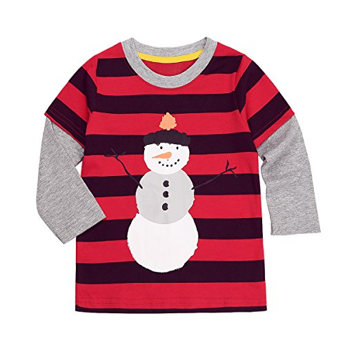 iiniim Unisex Toddler Kids Boys Christmas Clothes Snowman Long Sleeve Top Shirt Red and Black 5-6