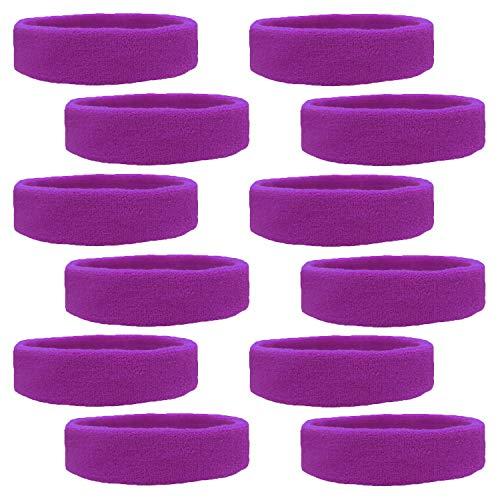 Kenz Laurenz 12 Sweatbands Cotton Sports Headbands Terry Cloth Moisture Wicking Athletic Basketball Headband (12 Pack) (Purple 12 -